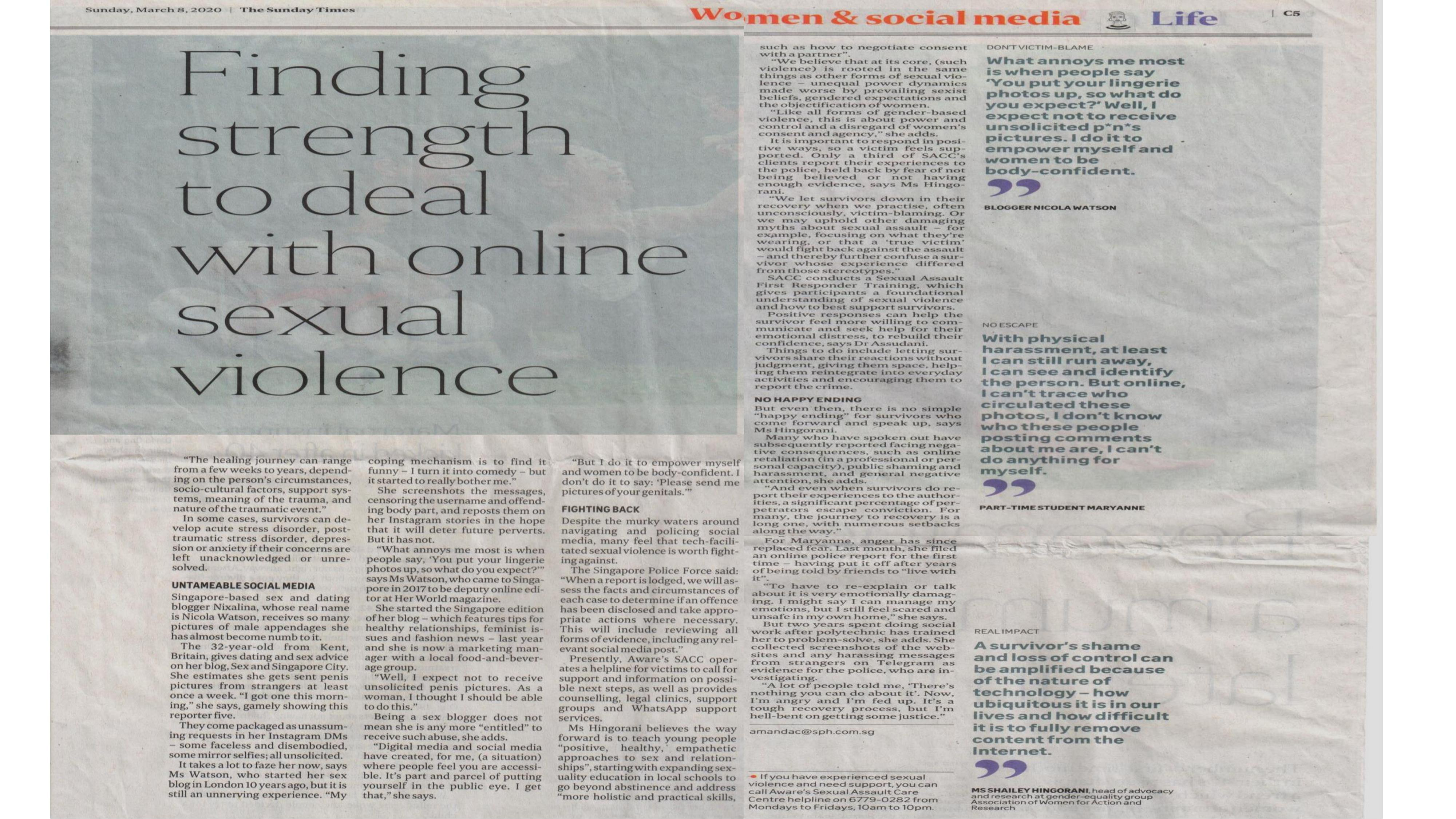 Understanding Technology-Facilitated Sexual Violence (TFSV) - The Sunday Times 8 March 2020